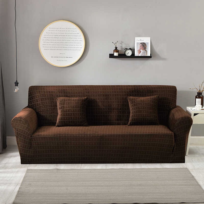Christmas Dark Brown Flannel Couch Cover L Shape Sofa Cover Stretch Couch  Slipcover for Living Room Elastic Cover 1/2/3/4 Seat