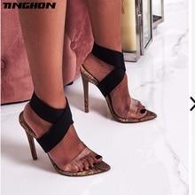 TINGHON Women Gladiator Sandals Open Toe Stiletto High Heels Summer Ladies Party Ankle Strap PVC Sandal Shoes Dress Pumps недорго, оригинальная цена