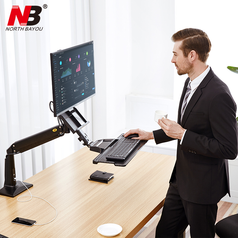 NB FC35 Ergonomic Desktop Gas Spring 22-35 inch Monitor Holder With Foldable Keyboard Tray Full Motion Sit-Stand Workstation