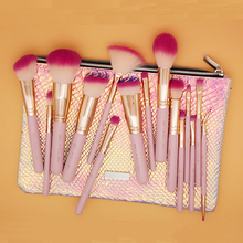 BELLA CULLEN Brand Pro 15pcs Pink Gold Makeup Brushes Set Make Up Brushes Soft Synthetic Hair With PU Leather bag