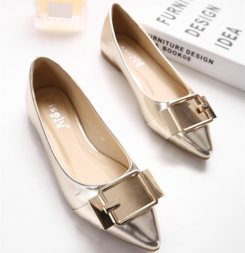 2016 Pointed Toe font b Women b font Flats Pu Leather Soft Sole Shoes Metal Buckle