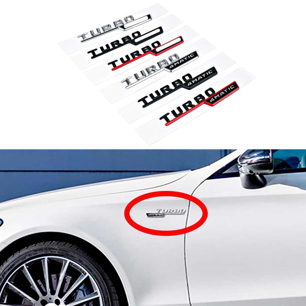 1-20 Pair For AMG 4MATIC TURBO Emblem Logo Side Fender Sticker For <font><b>Mercedes</b></font> Benz <font><b>A180</b></font> W176 W169 A200 A250 A209 A45 A150 A160 GLE image