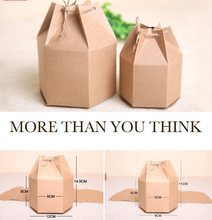 20pcs New design small Kraft Paper package cardboard box Lantern hexagon craft gift candy box Christmas gift packaging paper box(China)