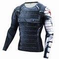 Nueva Winter Soldier Superhéroe Bucky Superman Anime 3D T Shirt Men Fitness Crossfit T-Shirt Camisa de Manga Larga de Compresión