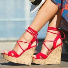 Red Women Wedge Sandals Ankle Wrap Strappy High Platform Summer Dress Shoes Peep toe Cross Strap Wedge Shoes Customized недорого