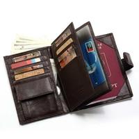 Genuine Leather Wallet Men Passport Holder Coin Purse Walet Male Clutch PORTFOLIO MAN Portomonee Mini Vallet Passport Cover