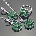 Casamento Criado Verde Esmeralda Conjuntos de Jóias de Prata Esterlina 925 Para As Mulheres Brincos/Pingente/Colar/Anéis Da Jóia Livre caixa