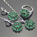 Wedding Green Created Emerald 925 Sterling Silver Jewelry Sets For Women Earrings/Pendant/Necklace/Rings Free Jewelry Box