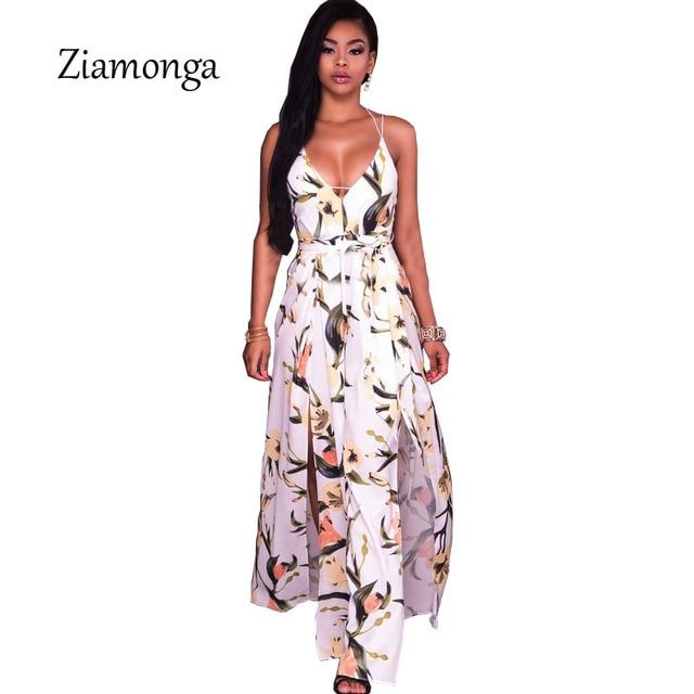 Ziamonga 2017 Boho Sommer Kleider Blumendruck Backless Lange Maxi Kleid  Hippie Chic Hohe Split Frauen Sexy 3c78e30701