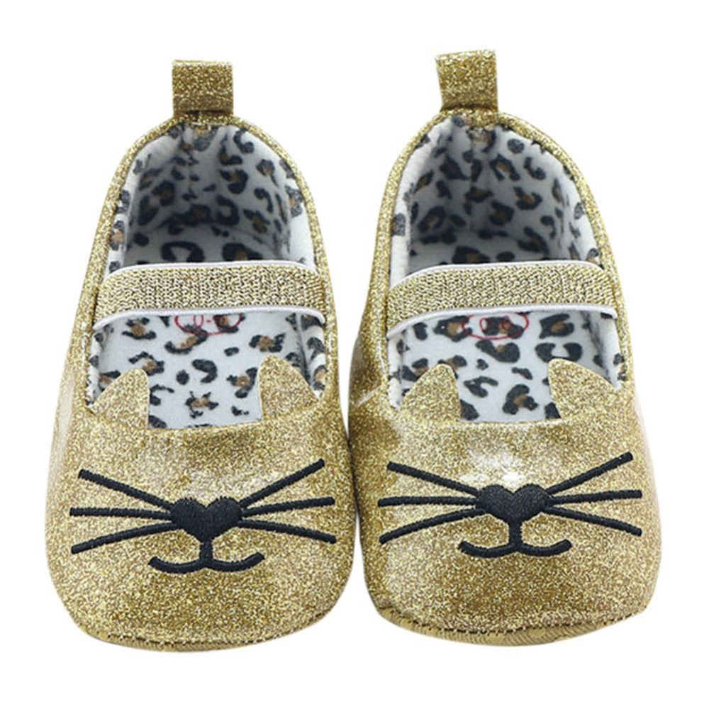 Cute Lovely Cartoon Cat Design Infant Girl Spring Autumn Soft Sole And-Slip Shallow Baby Kids First Walker Shoes