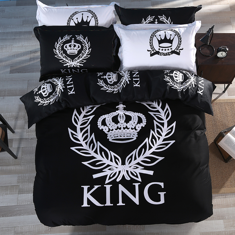 100 cotton modern black and white crown 4pcs bedding set bed linen grey bed sheet