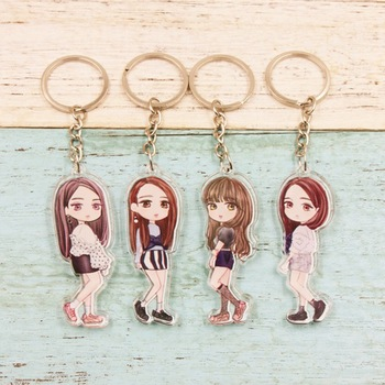 Kpop BLACKPINK Double Sided Photo Cartoon Keychain LISA ROSE JISOO JENNIE Cute Keyring Key Chain Backpack Pendant Платье