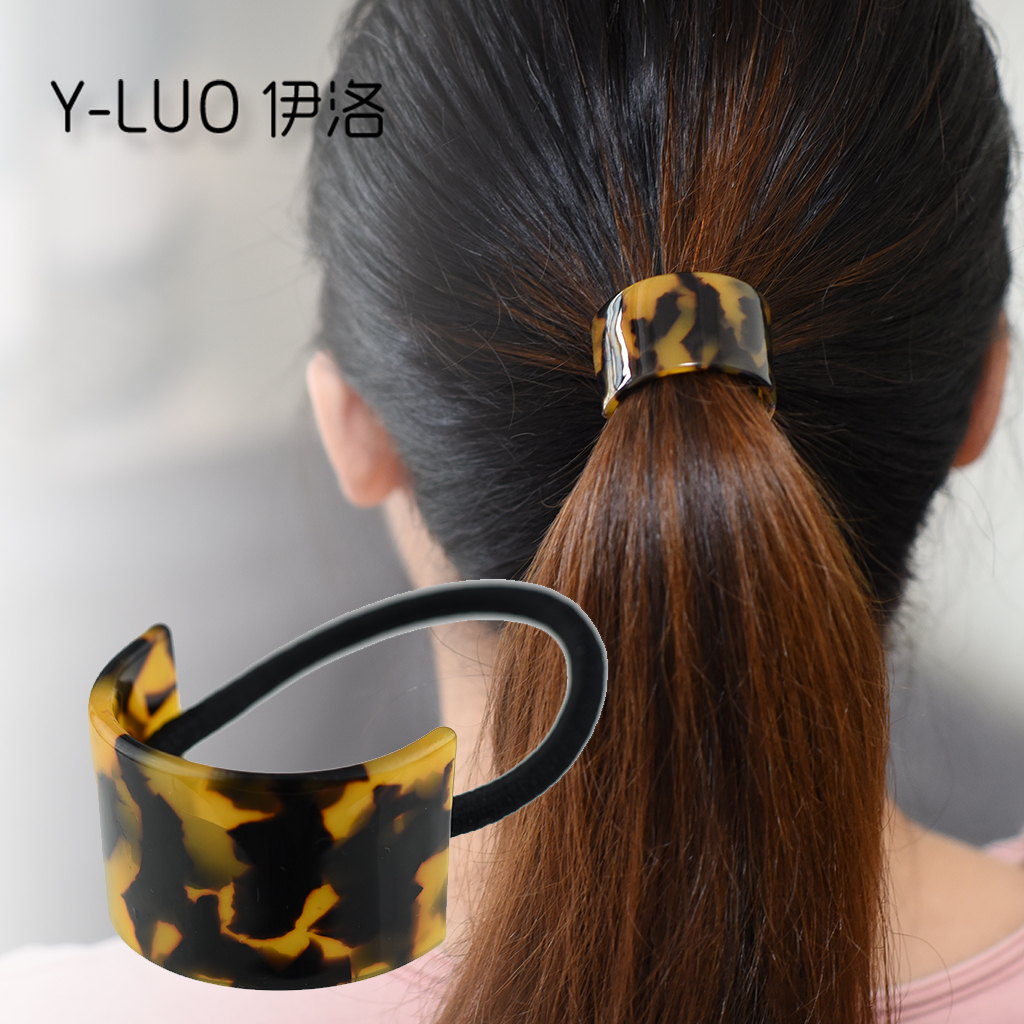 Women Hair Accessories Top Quality New Fashion Korean Elastic Hair Band Leopard Acetate Ponytail Holder For Girls