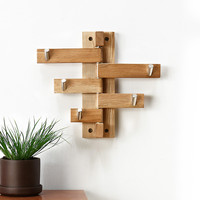 Oak Rotating Keys Hook Wood Wall Hook Entrance Hang Entrance Clothes Key Details Storage Rack Coat Hook Hanger