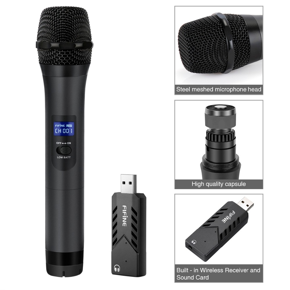FIFINE Wireless USB Microphone UHF Handheld Dynamic Mic with USB Receiver Output to Laptop or PC for Teaching Meeting K026 3