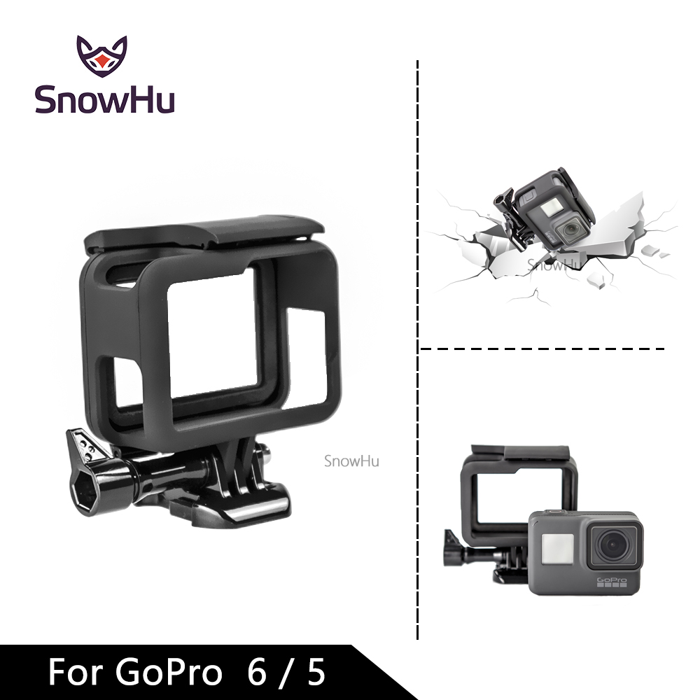 SnowHu Protective Frame Case Cover Bumper + Lens Cap For Gopro Hero 7 6 5 Housing Go Pro Sport Action Camera Accessories LD03 protective aluminum alloy bumper frame case for iphone 6 4 7 light blue