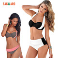 SAGUARO 2017 New Summer Sexy Bikinis Women Swimsuit High Waisted Bathing Suits Swim Halter Push Up Bikini Set Plus Size Swimwear