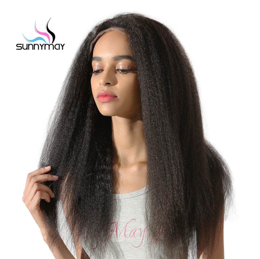 Sunnymay Peruvian Remy Pre Plucked African American Kinky Straight Lace Front font b Human b font