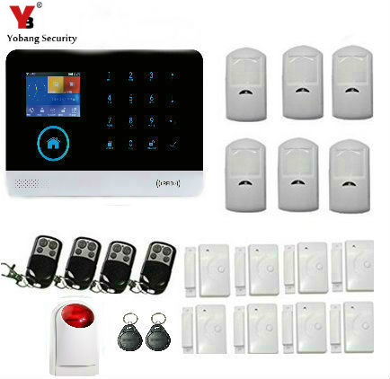 YobangSecurity Wireless Wifi GSM SMS RFID Home Burglar Security Alarm System with Touch Screen Keypad Auto Dial Garden Alarm wireless smoke fire detector for wireless for touch keypad panel wifi gsm home security burglar voice alarm system