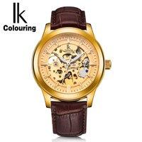 IK Vintage Gold Hollow Skeleton Horloge Mens Steel Case Lederen Band Automatische Mechanische Horloges Waterdicht Winnaar Stijl-in Mechanische Horloges van Horloges op