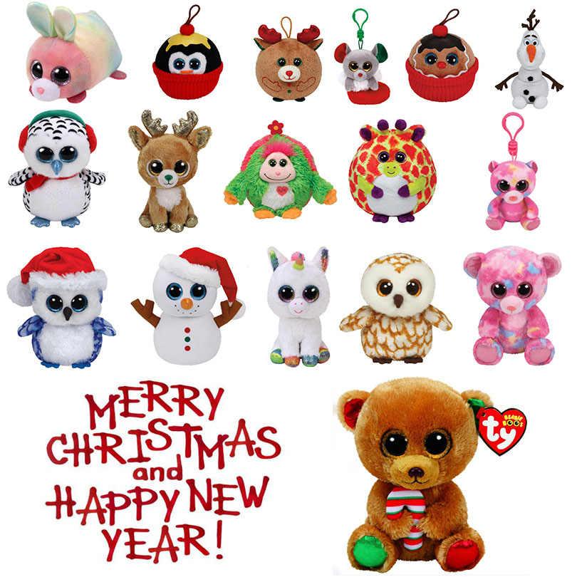 Christmas Owl.Ty Beanie Boos 2018 Holiday Christmas Owl Snowman Unicorn Big Glitter Eyes Stuffed Xmas 15cm Plush Doll Toys Christmas Gifts