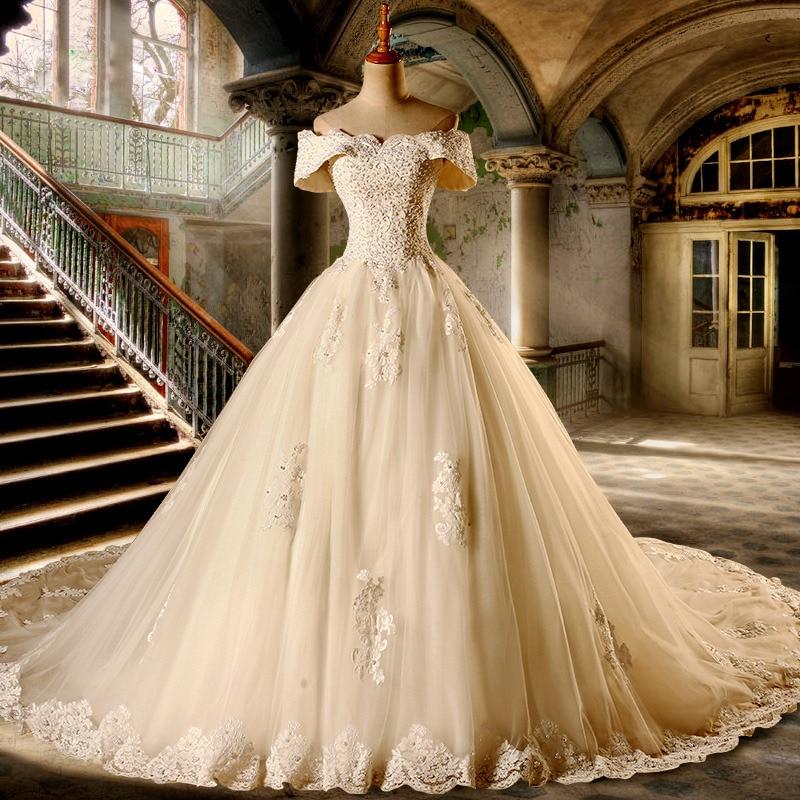 Loverxu Vestido De Noiva Sexy Boot-ausschnitt A Linie Brautkleider 2019 Kurzarm Appliques Perlen Vintage Brautkleid Plus Größe Online Shop Weddings & Events