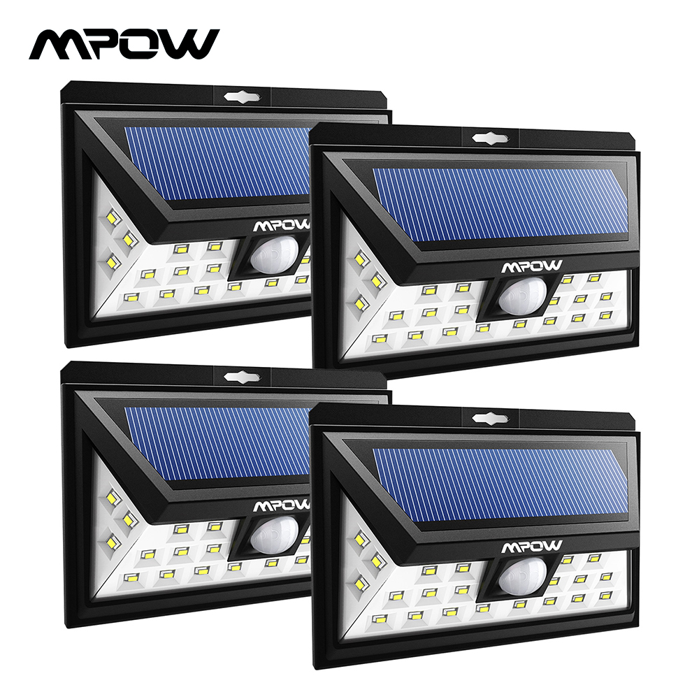 Lamparas Led Para Patios Mpow Cd013 Gran Angular 24 Luces Solares Led Sensor De Movimiento Luz Para Patio Jardín Pared Iluminación Ahorro De Energía Outroor Lámparas