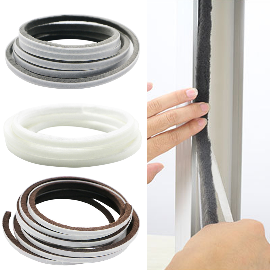 Draught Excluder Brush Pile Seal Film Door Window Self Adhesive Sealing Strip
