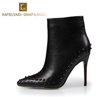 Black Ankle Boots Women High Heels Pointed Toe Sexy Snow Boots Woman Shoes Rivets Winter Women