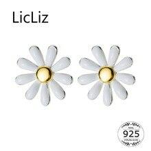 LicLiz 2019 New 925 Sterling Silver Cute Sunflower Stud Earrings for Women 18K Gold Flower S925 Jewelry White Petals Gift LE0566