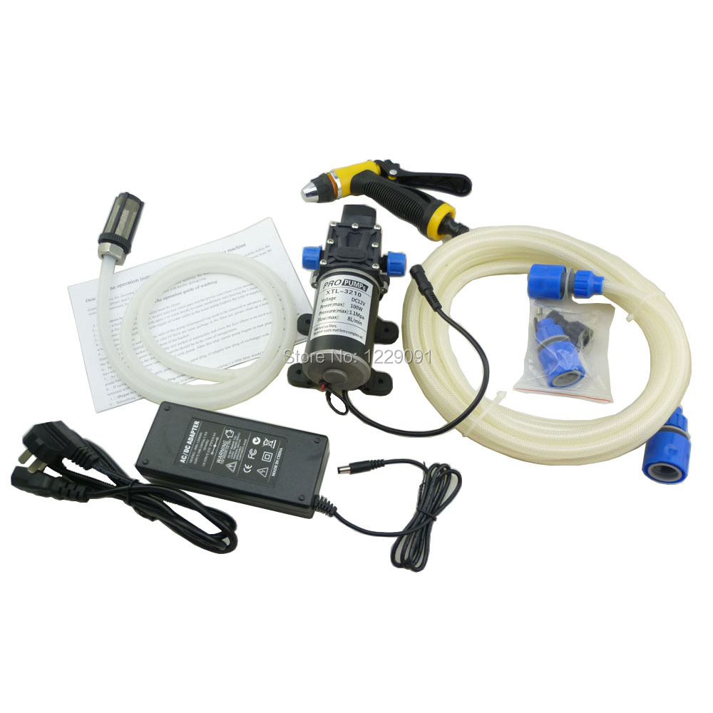 Home electric 100w portable dc 12 volt car washer high pressure water pump 12v with power adaptor 100-240v household self service high pressure portable cleaner car washer 12v 60w pump