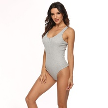 цена на Summer Sexy Bodycon Bodysuit Women Retro Vintage Solid Knitted Bodysuit O-Neck Sleeveless Button Up Ribbed Bodysuit