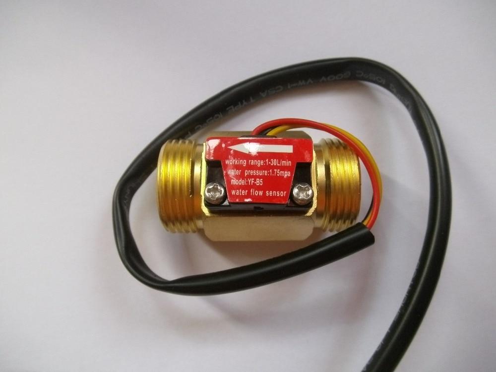 10 pz G3 / 4 Filettatura maschio Ottone Effetto Hall Sensore di flusso d'acqua Flussimetro 1-30L / min 50mm di lunghezza