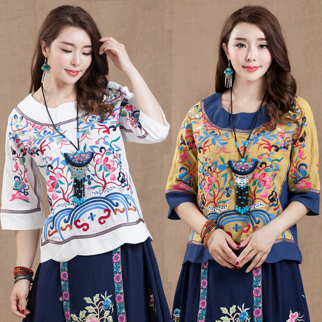 2017 spring national embroidery trend fluid three quarter sleeve Tang Suit chinese style vintage plus size embroidered Dress