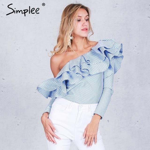 Simplee Одно плечо оборками блузка рубашка женщины топы 2016 осень Повседневная синий полосатый рубашка С Длинным рукавом прохладный блузка зима blusas