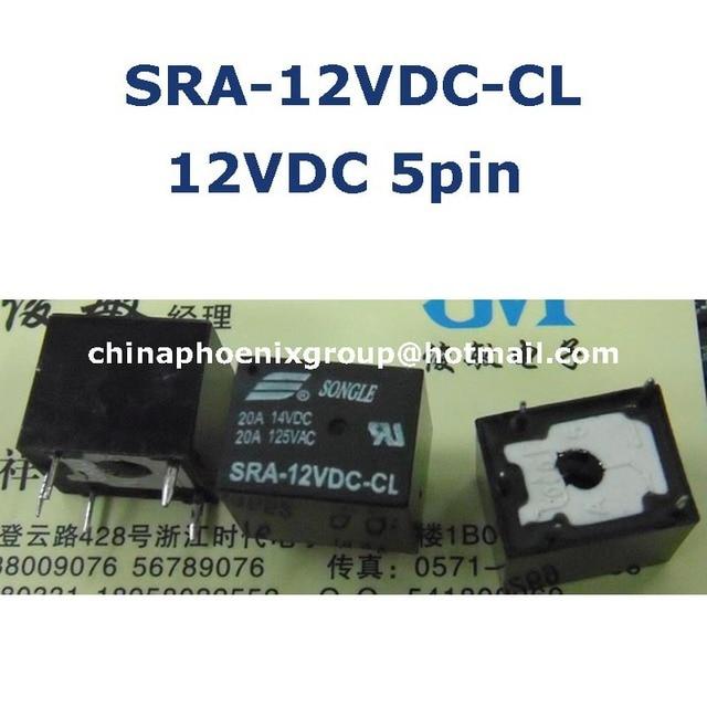 Songle pcb relais 12 v SRA-12VDC-CL t74 relais 5 pin 20A een open een dicht gratis verzending