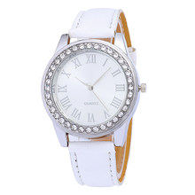 Fashion new women's watches leather strap watch women Luxury brand Stainless steel crystal dial bracelet quartz Female watch(China)