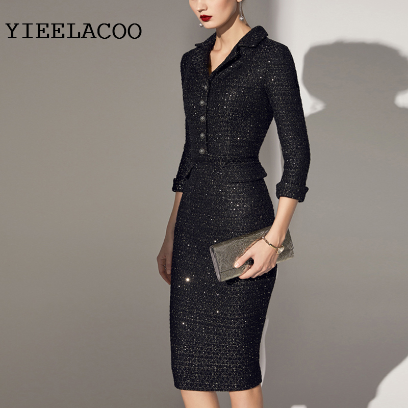 Tweed Dress Black autumn and winter women s dress custom Sparkle Sequin Fabric Ladies Package hip