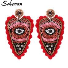 Sehuoran Drop Earrings Jewelry Crystal Handmade Geometric Pendant Statement Oorbellen