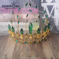 Himstory European Green Crystal Tiaras Crown Vintage Gold Rhinestone Pageant Crowns Baroque Wedding Bridal Hair Accessorie