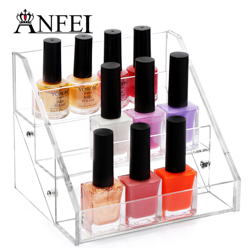 Nail Polish Layers: ANFEI Makeup Organizer Boxes Cosmetics Storage Box