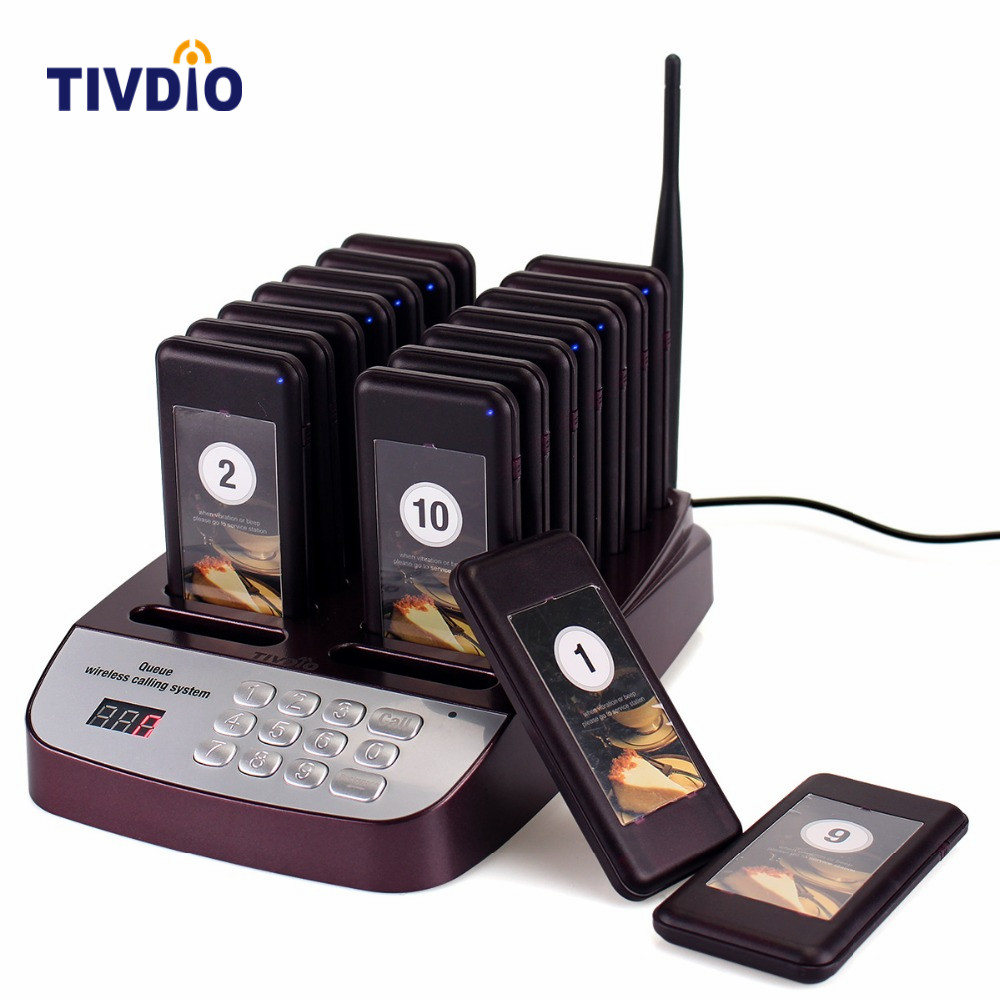 TIVDIO 16 Wireless Restaurant Pager Coaster Paging Queuing System With Rechargeable Battery 433 92MHz Pager Calling