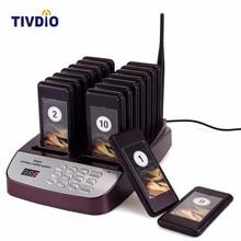 Tivdio 16 Беспроводной ресторан пейджер coaster подкачки очереди Системы с Перезаряжаемые Батарея 433.92 мГц пейджер вызова Системы F9403