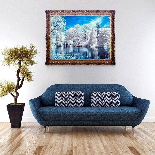 4030 Cm Diamant Malerei Winter Schnee See 5D DIY Bild Home Wohnzimmer Dekoration