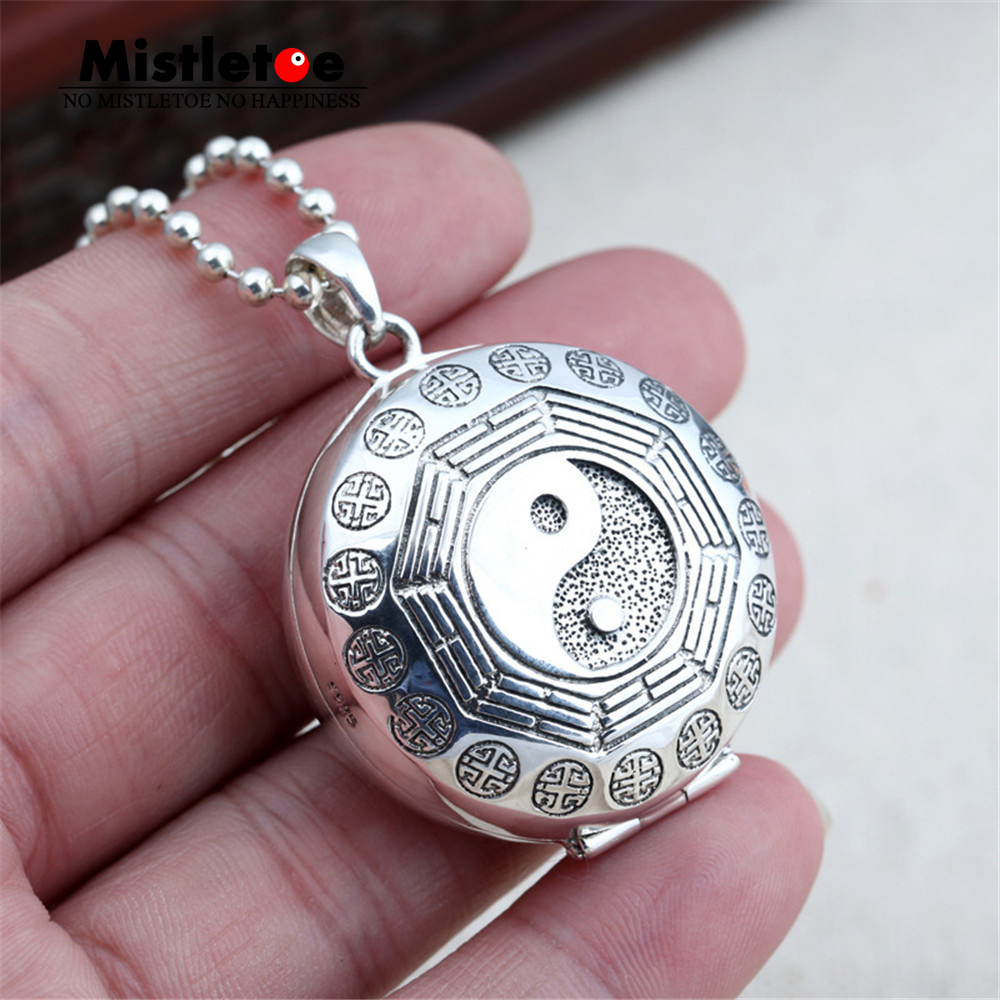 Genuine 100% 925 Sterling Silver Vintage Punk Locomotive Yin and yang tai chi Box Pendant For Women Men Necklace Jewelry Thai