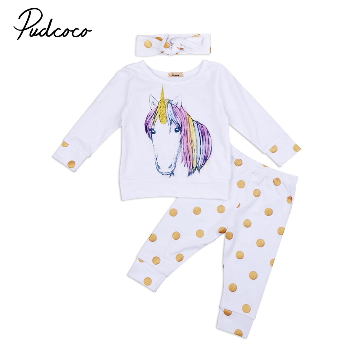 Babies 3  PCS  Unicorn Clothing Set Newborn Baby Boy Girl Kid Unicorns Polka Dots Outfit Clothes T-shirt Top Pants Headband Sets 2pcs set cotton spring autumn baby boy girl clothing sets newborn clothes set for babies boy clothes suit shirt pants infant set