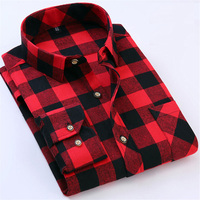 Red Black Plaid Shirt Men Social Slim Fit Casual Mens Long Sleeve Shirts Brushed Tartan Clothing