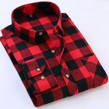 Rot Schwarz Kariertes Hemd Männer Social Slim Fit Lässige Herren Langarm-shirt Gebürstet Tartan Kleidung Flanell Shirts Männlichen Camisa