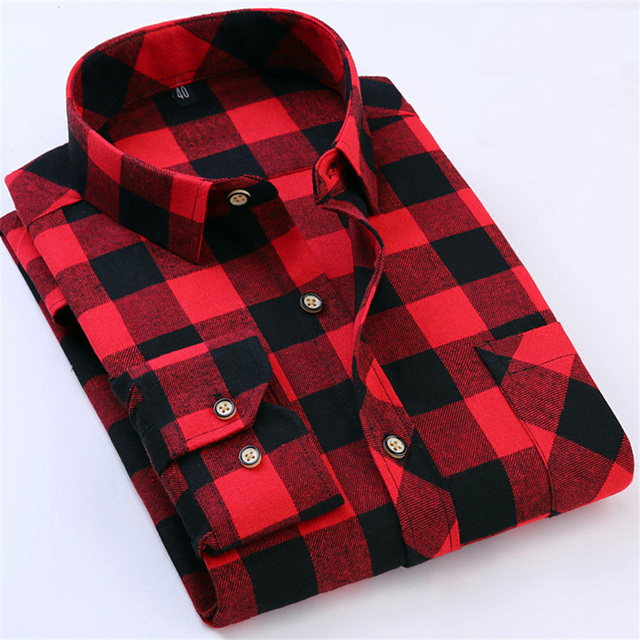 Red Black Plaid Shirt Men Social Slim Fit Casual Mens Long Sleeve ...