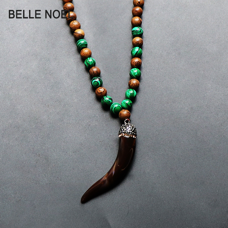 Trendy Nature Wood Beads Malachite Necklace With Resin Animal Micro Pave Crystal Pendants For Women Men Jewelry Anniversary Gift
